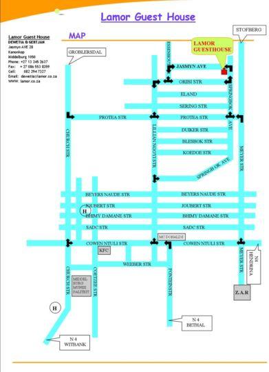 Map Lamor Guesthouse in Middelburg (MP)  Heartland  Mpumalanga  South Africa
