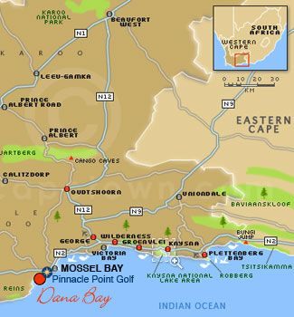 Map Dana Bay  in Mossel Bay  Garden Route  Western Cape  South Africa