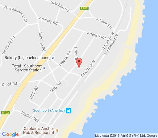 Map Dove\'s Cottage in Southport  South Coast (KZN)  KwaZulu Natal  South Africa