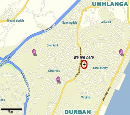 Map Maryland Manor Guest House in Durban North  Northern Suburbs (DBN)  Durban and Surrounds  KwaZulu Natal  South Africa