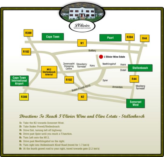 Map L\'Olivier Wine and Olive Estate in Stellenbosch  Cape Winelands  Western Cape  South Africa