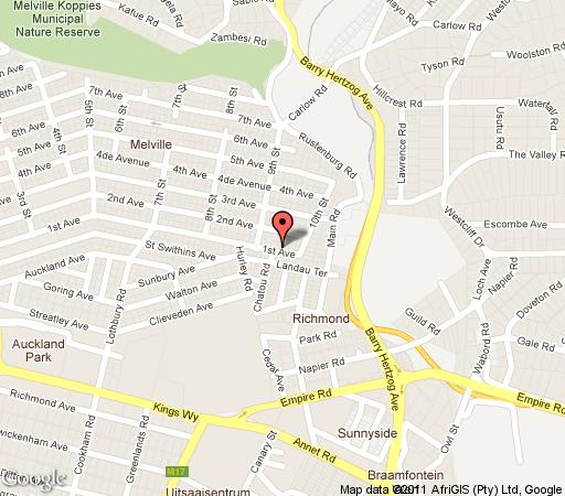 Map Lucky Bean Guest House in Melville (JHB)  Northcliff/Rosebank  Johannesburg  Gauteng  South Africa