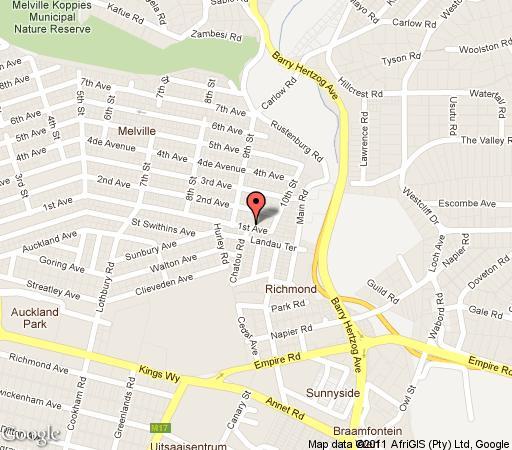 Map Lucky Bean Guest House in Melville (JHB)  Northcliff/Rosebank  Johannesburg  Gauteng  South Africa
