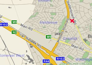 Map Southern Cross Guesthouse in Somerset West  Helderberg  Western Cape  South Africa