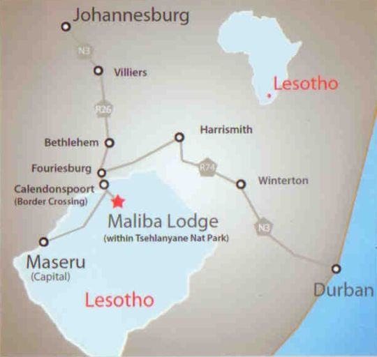 Map Maliba River Lodge (Selfcatering) in Tsehlanyane National Park  Lesotho