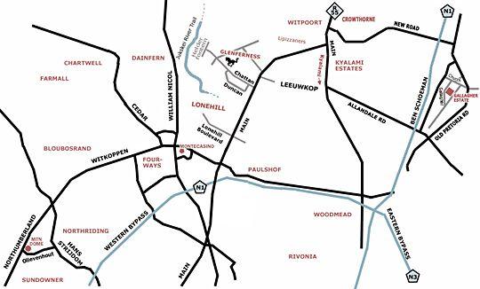 Map Donnybrook Guesthouse in Glenferness  Midrand  Johannesburg  Gauteng  Zuid-Afrika