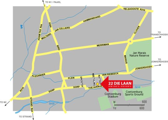 Map 22 Die Laan Self Catering Accommodation in Stellenbosch  Cape Winelands  Western Cape  South Africa