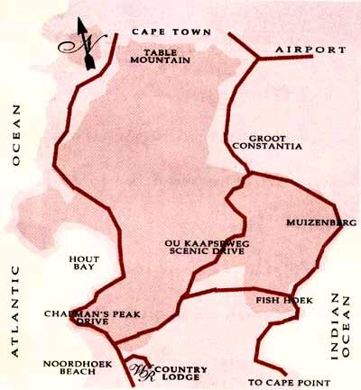 Map Wild Rose Country Lodge in Noordhoek  False Bay  Cape Town  Western Cape  South Africa