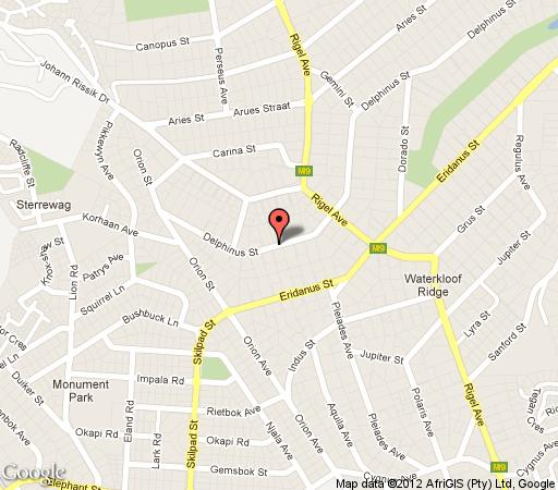 Map Montpellier Guest House in Waterkloof Ridge  Pretoria East  Pretoria / Tshwane  Gauteng  Afrique du Sud