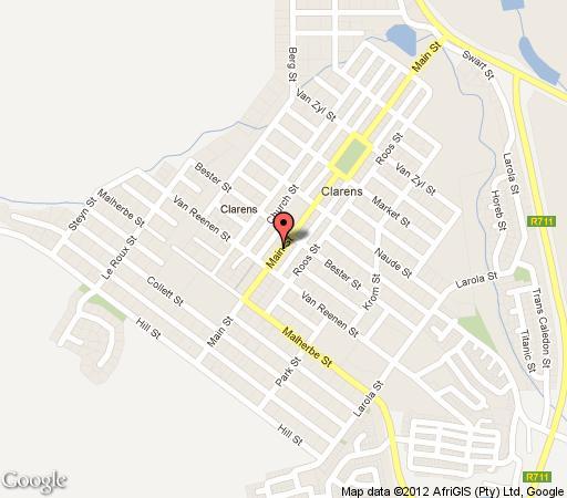 Map Eddies Self-Catering / B&B  in Clarens  Thabo Mofutsanyana  Free State  South Africa