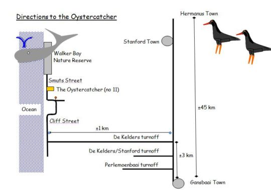 Map The Oystercatcher in De Kelders  Overberg  Western Cape  South Africa