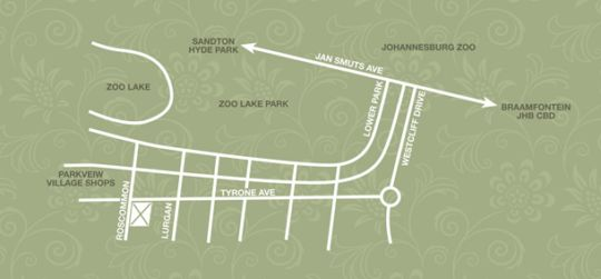 Map Village Green Guest House in Parkview  Northcliff/Rosebank  Johannesburg  Gauteng  South Africa