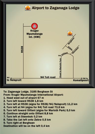 Map a Zaganaga Kruger Lodge in Marloth Park  Kruger National Park (MP)  Mpumalanga  South Africa