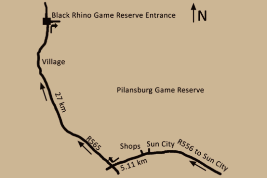 Map Buffalo Thorn Lodge in Pilanesberg  Bojanala  North West  South Africa