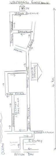 Map Valparaiso Guesthouse in Jeffreys Bay  Cacadu (Sarah Baartman)  Eastern Cape  South Africa