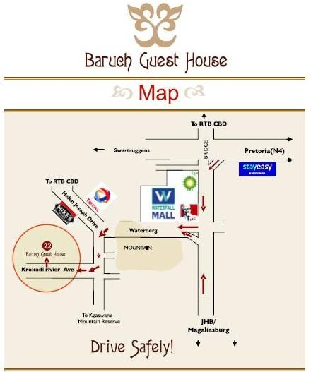 Map Baruch Guest House in Rustenburg  Bojanala  North West  South Africa