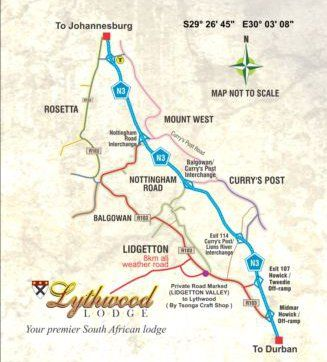 Map Lythwood Lodge in Lidgetton  Midlands  KwaZulu Natal  South Africa
