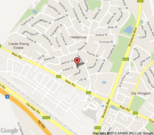 Map Pink Rose Guesthouse & Spa - for gay men only in Somerset West  Helderberg  Western Cape  South Africa