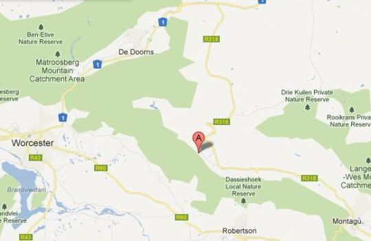 Map Langdam Guest Farm in Montagu  Breede River Valley  Western Cape  South Africa