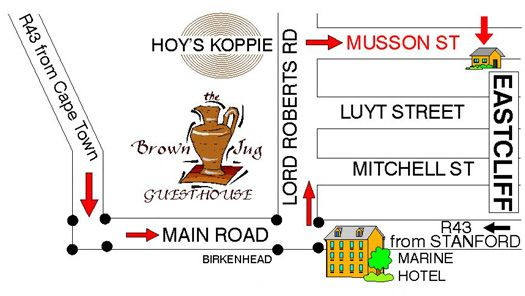 Map Brown Jug Guest House in Hermanus  Overberg  Western Cape  South Africa