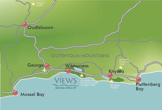 Map Views Boutique Hotel & Spa in Wilderness  Garden Route  Western Cape  South Africa