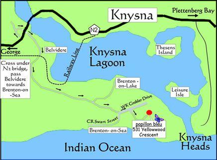 Map Papillon Bleu in Knysna  Garden Route  Western Cape  South Africa