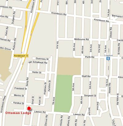 Map Ottoman Lodge in Rondebosch  Southern Suburbs (CPT)  Cape Town  Western Cape  South Africa