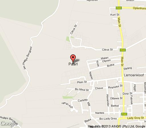 Map Pearl Golf Lodges in Franschhoek  Cape Winelands  Western Cape  South Africa