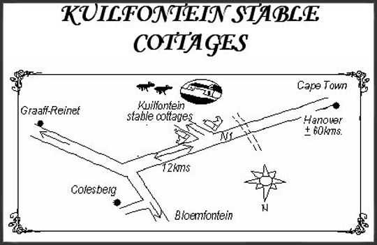 Map Kuilfontein Stable Cottages and The Paddocks in Colesberg  Upper Karoo  Northern Cape  South Africa