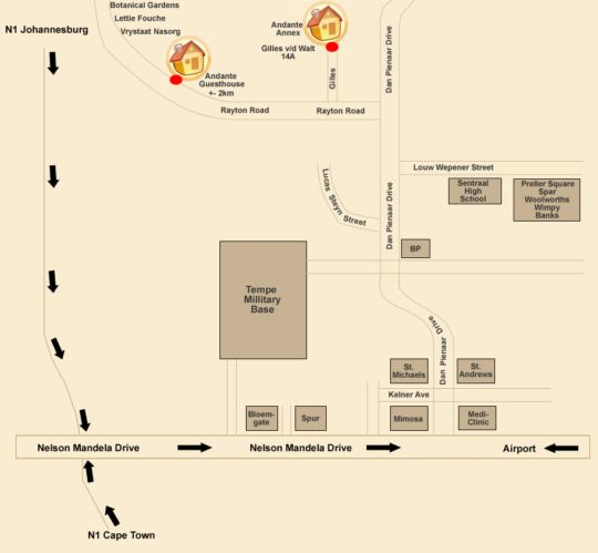 Map Altissimo Guesthouse in Bloemfontein  Mangaung  Free State  South Africa
