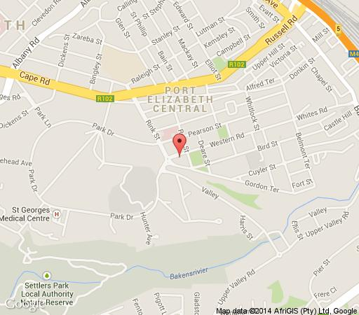 Map Rose Village Guesthouse in Port Elizabeth Central  Port Elizabeth  Cacadu  Eastern Cape  South Africa