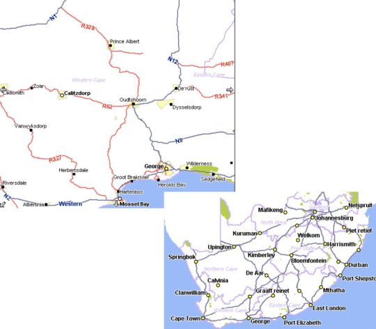 Map The Artist\'s Cottage in Prince Albert  Karoo  Western Cape  South Africa