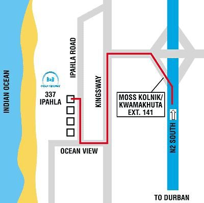 Map An Ocean Hideaway B&B in Amanzimtoti  South Coast (KZN)  KwaZulu Natal  Zuid-Afrika