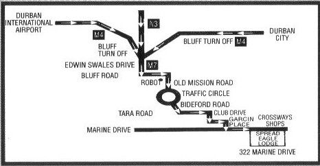 Map Spread Eagle Lodge in Bluff  Durban  Durban and Surrounds  KwaZulu Natal  South Africa