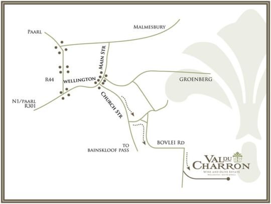Map Val du Charron Wine & Olive Estate Guest House in Wellington  Cape Winelands  Western Cape  South Africa