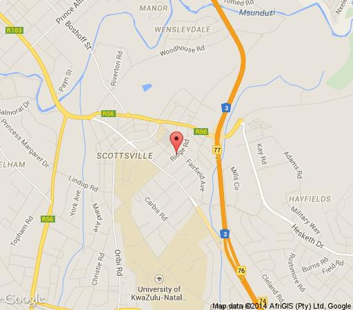 Map Ridgeway Close in Scottsville  Pietermaritzburg  Midlands  KwaZulu Natal  South Africa