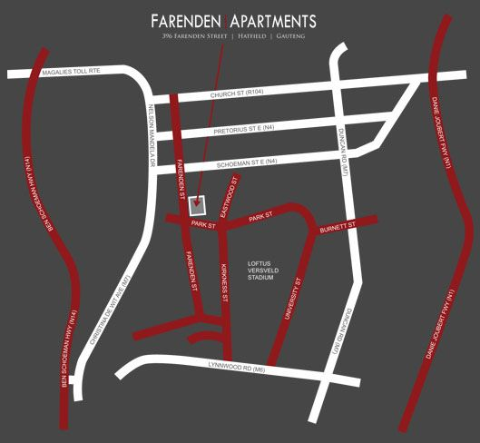 Map Absolute Farenden Service Apartments in Arcadia  Pretoria Central  Pretoria / Tshwane  Gauteng  South Africa