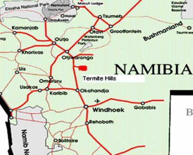 Map Termite Hills B&B in Otjiwarongo  Otjozondijupa  Namibia