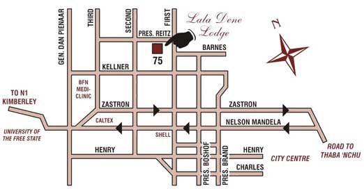 Map Lala Dene Lodge in Bloemfontein  Mangaung  Free State  South Africa