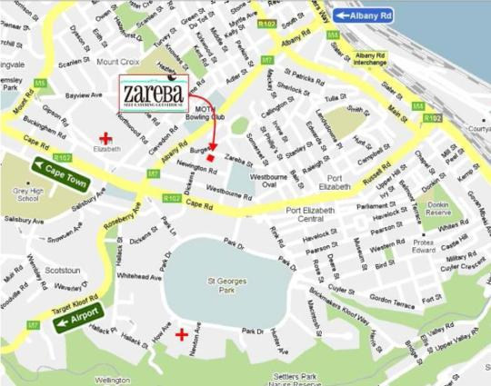 Map Zareba  B & B in Richmond Hill  Port Elizabeth  Cacadu (Sarah Baartman)  Eastern Cape  South Africa