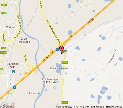 Map Paarlgolf - Boschenmeer Golf Estate in Paarl  Cape Winelands  Western Cape  South Africa