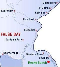 Map Rocky Beach Self Catering Studio in Simon's Town  False Bay  Cape Town  Western Cape  South Africa