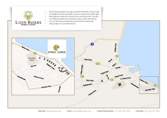 Map Singa Lodge in Summerstrand  Port Elizabeth  Cacadu (Sarah Baartman)  Eastern Cape  South Africa