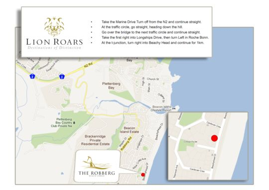 Map The Robberg Beach Lodge - Lion Roars Hotels&Lodges in Plettenberg Bay  Garden Route  Western Cape  South Africa