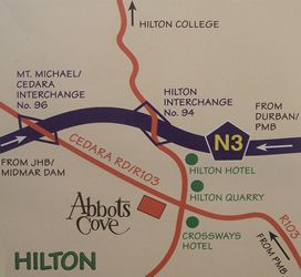 Map Abbots Cove in Hilton  Pietermaritzburg  Midlands  KwaZulu Natal  South Africa