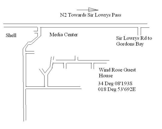 Map Wind-Rose Guest House in Gordon's Bay  Helderberg  Western Cape  South Africa