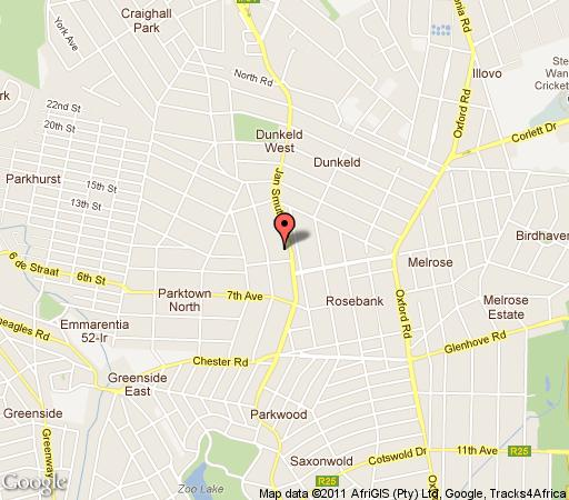 Map Rosebank Lodge & Backpacker in Rosebank (JHB)  Northcliff/Rosebank  Johannesburg  Gauteng  South Africa