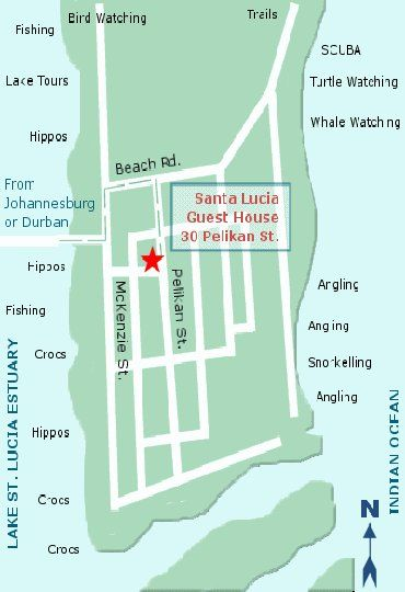 Map Santa Lucia Guest House in St Lucia  Zululand  KwaZulu Natal  South Africa