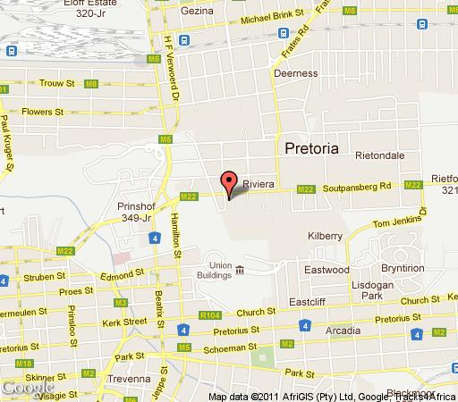 Map Moontide in Riviera  Moot  Pretoria / Tshwane  Gauteng  South Africa