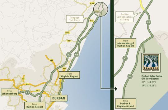 Map Zimbali Resort Uluwatu houses in Ballito  North Coast (KZN)  KwaZulu Natal  South Africa